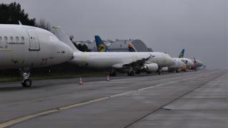 Zaparkovaná letadla.