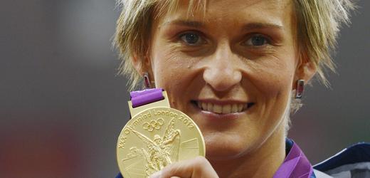 Letní olympijské hry Londýn 2012, LOH, 10. srpna, oštěp, ženy, medailový ceremoniál. Česká reprezentantka Barbora Špotáková se zlatou medailí.