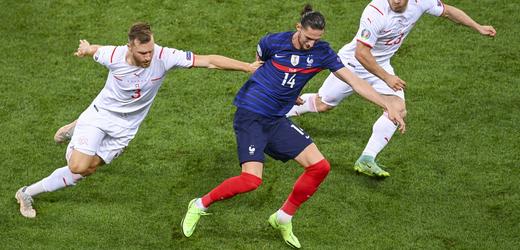 Zápas mezi Francií a Švýcarskem na EURU 2021.