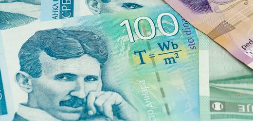 Vynálezce Nikola Tesla na srbské bankovce.