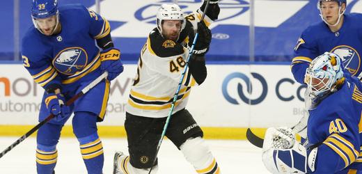 Hokejový útočník David Krejčí v barvách Bostonu Bruins.