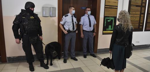 U Krajského soudu v Ostravě 17. září 2021 jedná státní zástupce o dohodě s bohumínským žhářem. Při loňském požáru bytu v panelovém domě zemřelo celkem 11 lidí. Jednání se koná za přísných bezpečnostních opatření s vyloučením veřejnosti. Na snímku jsou členové justiční stráže a psovod vězeňské služby před vstupem do soudní síně.