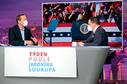 Místopředseda KDU-ČSL Tomáš Zdechovský v debatě s moderátorem Jaromírem Soukupem.