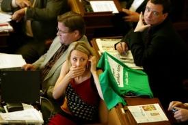 Poslanci dělají hluk. Zelená Kateřina Jacques zrovna telefonuje.