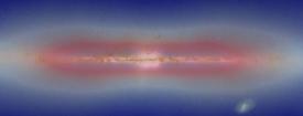 Simulace temné hmoty (červeně) - oblak kolem galaxie i disk uvnitř.